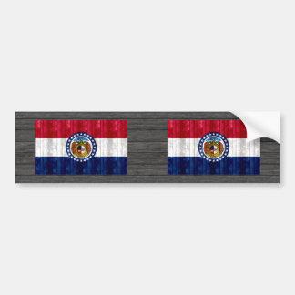 Bandera de madera del Missourian Pegatina De Parachoque