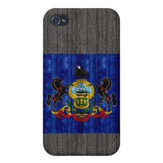 Bandera de madera del Pennsylvanian iPhone 4 Protectores