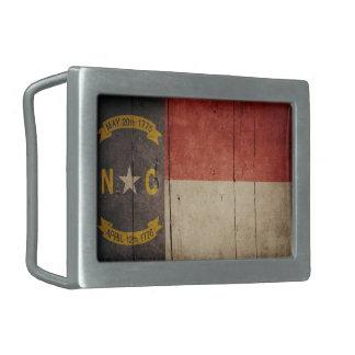 Bandera de madera rugosa de Carolina del Norte Hebilla Cinturon Rectangular