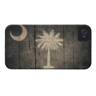 Bandera de madera rugosa de Carolina del Sur Case-Mate iPhone 4 Cobertura