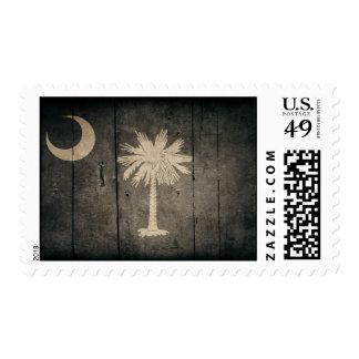 Bandera de madera rugosa de Carolina del Sur Estampillas