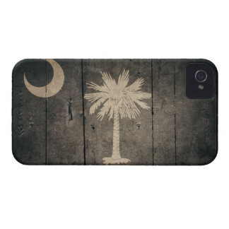 Bandera de madera rugosa de Carolina del Sur iPhone 4 Protectores