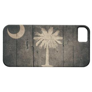 Bandera de madera rugosa de Carolina del Sur iPhone 5 Carcasa