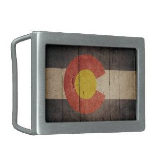 Bandera de madera rugosa de Colorado Hebilla Cinturón Rectangular