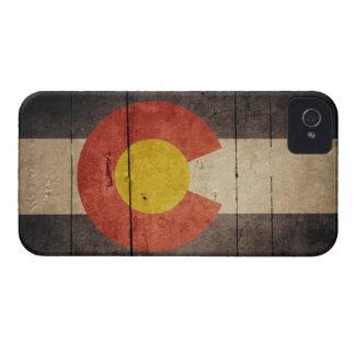 Bandera de madera rugosa de Colorado iPhone 4 Cobertura