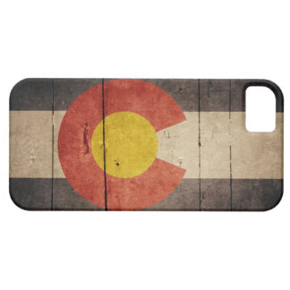 Bandera de madera rugosa de Colorado iPhone 5 Fundas