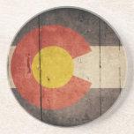 Bandera de madera rugosa de Colorado Posavasos Diseño