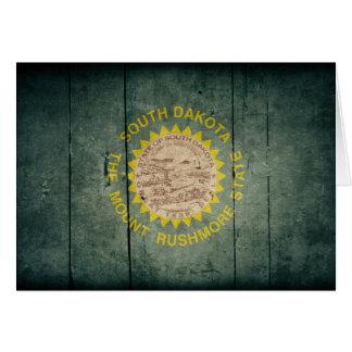 Bandera de madera rugosa de Dakota del Sur Tarjeta Pequeña