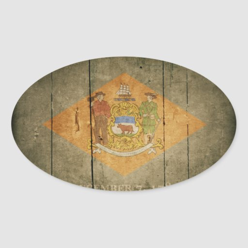 Bandera de madera rugosa de Delaware Pegatina Ovalada