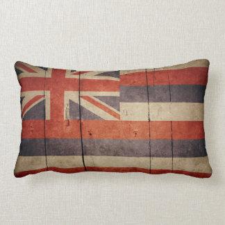 Bandera de madera rugosa de Hawaii Cojín Lumbar