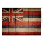 Bandera de madera rugosa de Hawaii Felicitaciones