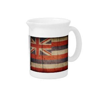 Bandera de madera rugosa de Hawaii Jarra