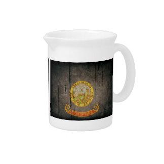 Bandera de madera rugosa de Idaho Jarra Para Bebida
