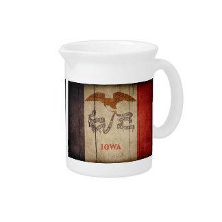 Bandera de madera rugosa de Iowa Jarra Para Bebida