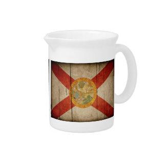 Bandera de madera rugosa de la Florida Jarra De Beber