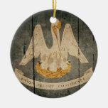 Bandera de madera rugosa de Luisiana Ornamentos Para Reyes Magos