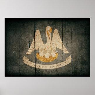 Bandera de madera rugosa de Luisiana Impresiones
