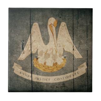 Bandera de madera rugosa de Luisiana Azulejo