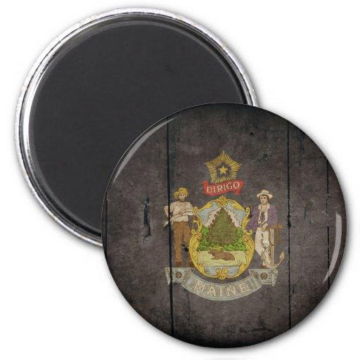 Bandera de madera rugosa de Maine Imán Para Frigorifico