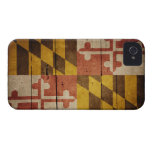 Bandera de madera rugosa de Maryland iPhone 4 Cárcasas