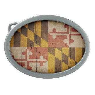 Bandera de madera rugosa de Maryland Hebillas Cinturón Ovales