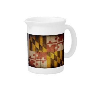 Bandera de madera rugosa de Maryland Jarron