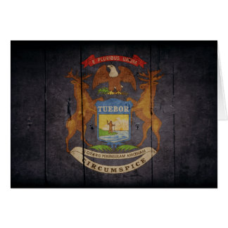 Bandera de madera rugosa de Michigan Tarjeta Pequeña
