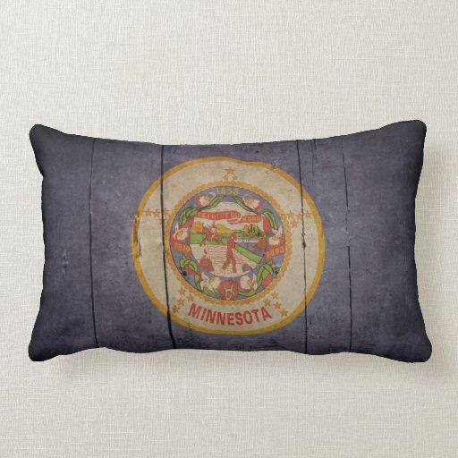 Bandera de madera rugosa de Minnesota Cojin