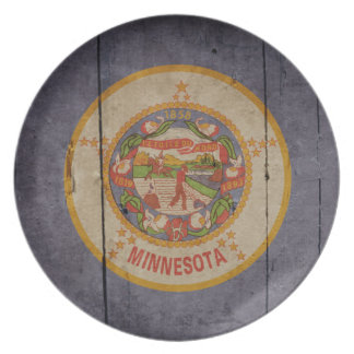 Bandera de madera rugosa de Minnesota Platos Para Fiestas