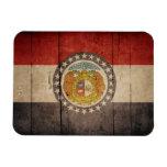 Bandera de madera rugosa de Missouri Imán De Vinilo