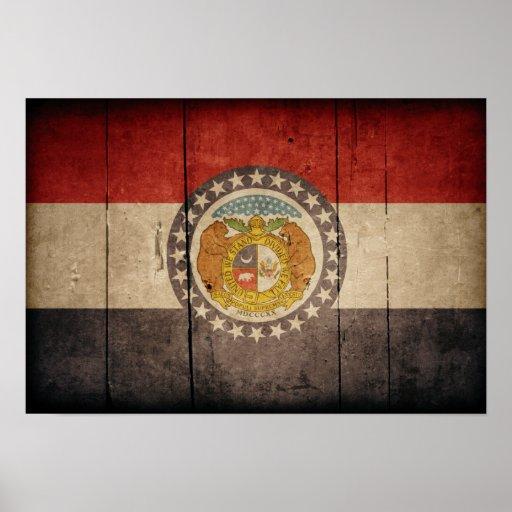 Bandera de madera rugosa de Missouri Poster