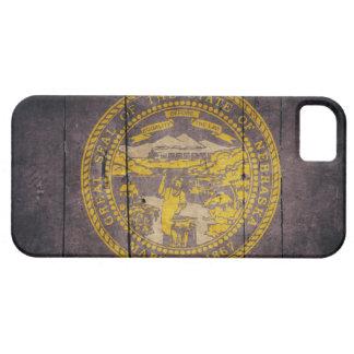 Bandera de madera rugosa de Nebraska iPhone 5 Case-Mate Fundas