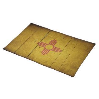 Bandera de madera rugosa de New México Manteles