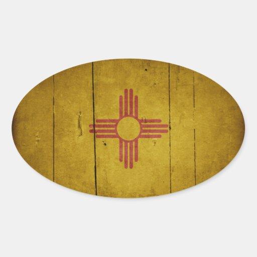 Bandera de madera rugosa de New México Calcomania Ovaladas Personalizadas