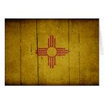 Bandera de madera rugosa de New México Tarjetón