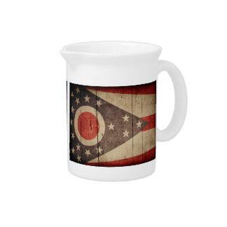 Bandera de madera rugosa de Ohio Jarras Para Bebida