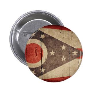 Bandera de madera rugosa de Ohio Pin Redondo 5 Cm