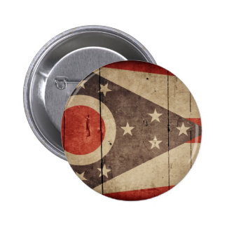 Bandera de madera rugosa de Ohio Pin Redondo De 2 Pulgadas