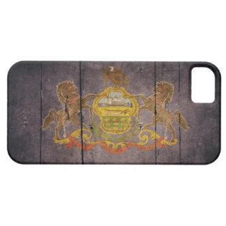 Bandera de madera rugosa de Pennsylvania iPhone 5 Cárcasas