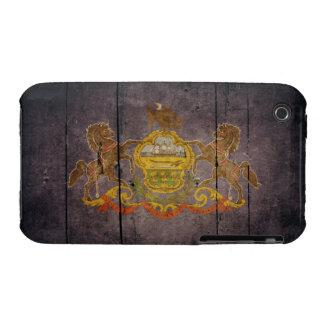 Bandera de madera rugosa de Pennsylvania Case-Mate iPhone 3 Cárcasa