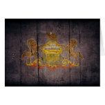 Bandera de madera rugosa de Pennsylvania Felicitaciones