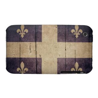 Bandera de madera rugosa de Quebec iPhone 3 Case-Mate Cárcasas