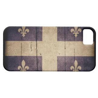 Bandera de madera rugosa de Quebec iPhone 5 Case-Mate Protector