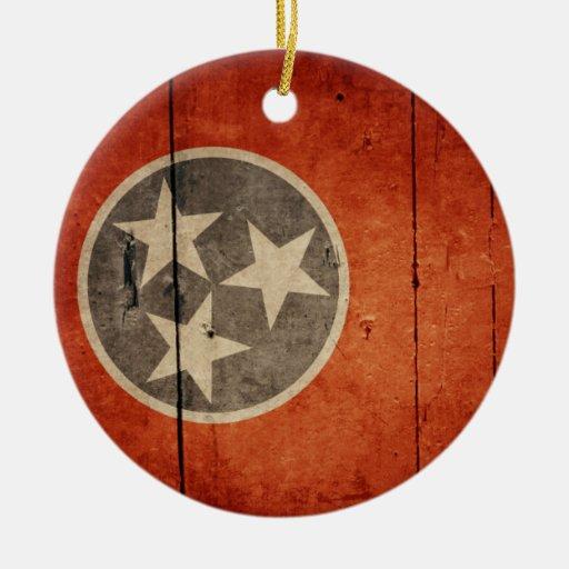 Bandera de madera rugosa de Tennessee Ornamento De Reyes Magos