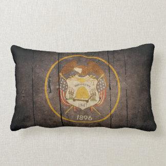 Bandera de madera rugosa de Utah Cojin