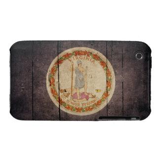 Bandera de madera rugosa de Virginia iPhone 3 Carcasas
