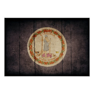 Bandera de madera rugosa de Virginia Poster