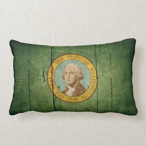 Bandera de madera rugosa de Washington Cojin