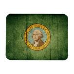 Bandera de madera rugosa de Washington Imán Flexible