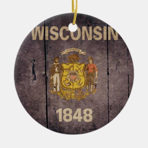 Bandera de madera rugosa de Wisconsin Ornamento De Navidad